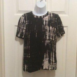 A.L.C. Top 0 Black Cream Tie-Dye Style Semi-Sheer